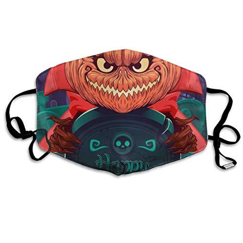 Houity stofdicht wasbaar masker, Jack O' lantaarn in een rode jas voor Halloween op kerkhof