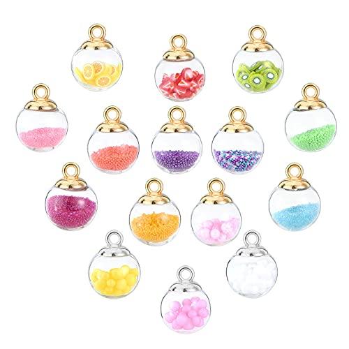 PandaHall 90 Abalorios de Bola de Cristal de 15 Colores con Micro Cuentas de Arcilla polimérica de Espuma y CCB de plástico para Copas, Colgantes de Bolas de Cristal de Colores para Hacer