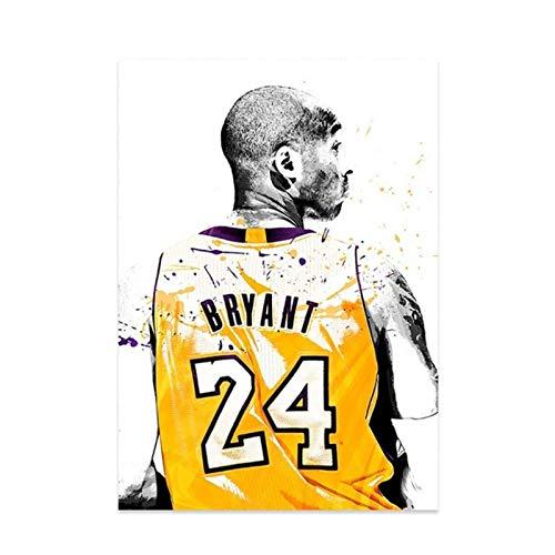 XuFan Kobe Bryant Retrato Figura Famoso Jugador de Baloncesto Lienzo Pintura Carteles e Impresiones para dormitorios decoración del hogar imagen-20X28 Pulgadas sin Marco