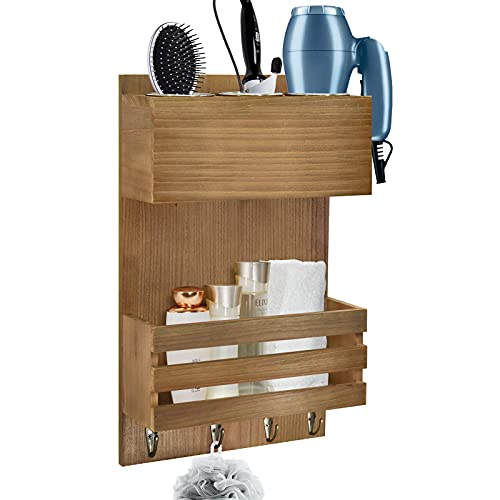 Y&ME YM Wood Hair Dryer Holder Wall Mount, Bathroom Hair Care and Styling Tool Organizer, Farmhouse Wood Beauty Hair Appliance Holder with Shelf for Bathroom Accessories, Makeup, Toiletries Brown