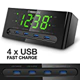 LED Alarm Clock with USB Charger - 4 USB Port for iPhone/iPad/iPod/Android Phone,Tablet and All USB-Charged Devices. Hotel Commercial Grade Bedside Table Clock