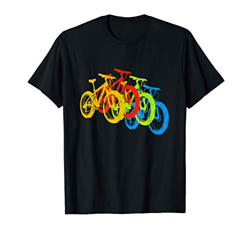 Retro Vintage Mountain Bike MTB Cyclist Color Bicycles T-Shirt