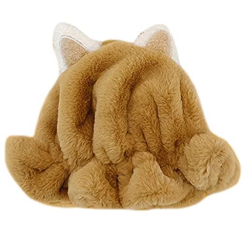 ShapeW Versión coreana mullido lindo gato oreja pescador sombrero casual felpa cuenca sombrero caliente tendencia al aire libre otoño invierno para adolescentes, caqui, Talla única