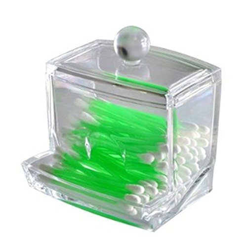 LAAT Acrylic Cotton Box Stems Holder Box Cotton-Pad Dispenser Transparent Storage Box Storage Case for Makeup Cosmetic (Not Include Cotton Swabs)