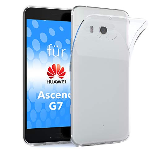 EAZY CASE Hülle kompatibel mit Huawei Ascend G7 Schutzhülle Silikon, Ultra dünn, Slimcover, Handyhülle, Silikonhülle, Backcover, Durchsichtig, Klar Transparent