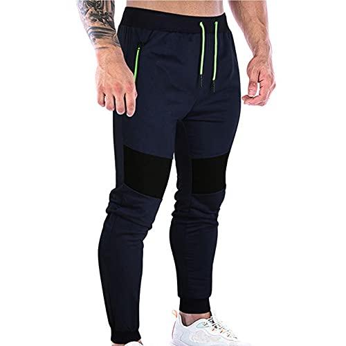 WXZZ Pantalon de sport pour homme - Coupe ajustée - Coton - Fitness - Avec poches zippées - Pantalon de loisirs, Marine, L