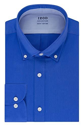 Izod Camisa de Vestir para Hombre Ajustada, elástica Cool FX Cuello de enfriamiento sólido, Azul Zafiro, 16'-16.5' Cuello 32'-33' Manga (L)