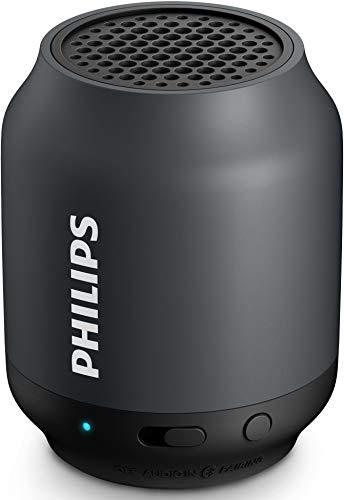 Philips BT50B/00 tragbarer kabelloser Bluetooth Lautsprecher (2 Watt) grau/schwarz