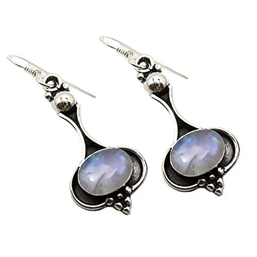 Unique Exklusive Jugendstil Ohrhänger echter Mondstein eingefasst in 925 Sterling Silber nickelfrei 6.5 Karat in Juweliers- Qualität