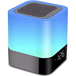Night Light Bluetooth Speaker, LED Dimmable Bedside Touch Sensor Lamp, Wireless Speaker with Color Changing Light and Alarm Clock, MP3 Player, USB, AUX, Best Gift for Kids, Party, Bedroom
