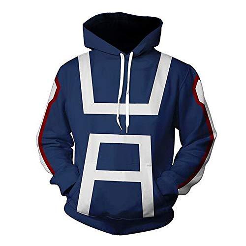 AKQJO My Hero Academia Cosplay Shoto Todoroki Hoodies Cotton Pullover Sweatshirt Jacket Coat CostumeUnisex (Blue Sweater, S)