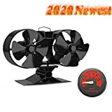 CRSURE 2020 Newest Upgrade Wood Stove Fan, Mini 8-Blade Double-Motor Heat Powered Fan for Wood Burning Stove,Log Burner, Fireplace, with Thermometer(Double Motor, Black)