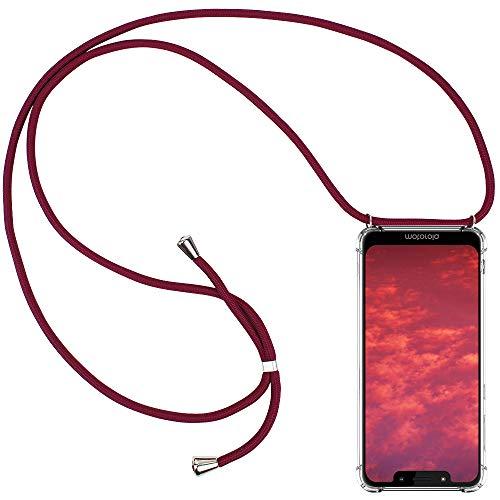 CLM-Tech Handykette kompatibel mit Motorola Moto G7 Play - Hülle mit Kordel zum Umhängen - Silikon Schutzhülle transparent mit Band Schnur, rot
