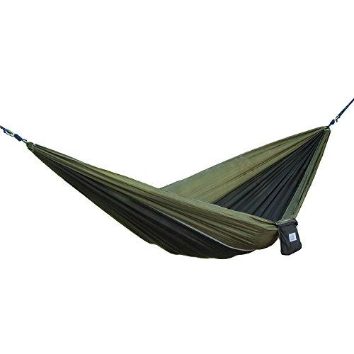 OuterEQ Portable Parachute Camping Hammocks Lightweight Nylon Fabric Travel Hammock (Olive/Black, 295cm x 198cm/Double)