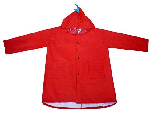 QIAHANG - Niños Chaquetas de Lluvia para Verano con Dibujos Animados 3D Chubasquero con Capucha Mangas Largas Ropa de Lluvia Infantil Transpirable - Rojo - XL - 4-5 Años