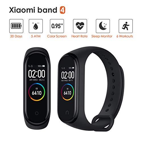 Xiaomi Mi Band 4 Pulsera de Actividad,Monitores de Actividad,Pantalla Pulsómetro Fitness Tracker, Pulsera Smartwatch con 0.95 Pantalla AMOLED a Color,con iOS y Android,Negro(Versión Global)
