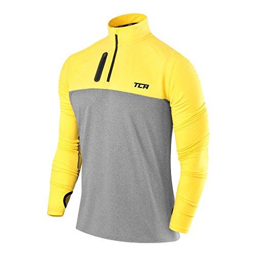 TCA Men's Fusion Pro Quickdry Long Sleeve Half-Zip Running Shirt - Heather Gray/Sonic Yellow, Large