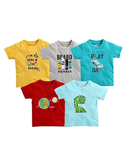 MINITATU Boy's Regular T-Shirt (Peb321526-5_Multicolor8 3-4 Years)