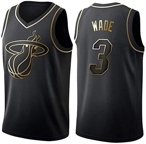 Maglia Vintage da Uomo Miami Heat #3 Dwyane Wade Maglie estive Pallacanestro Uniforme, Ricamo Traspirante e Resistente T-Shirt Top Maglie Tuta da Basket Maglia