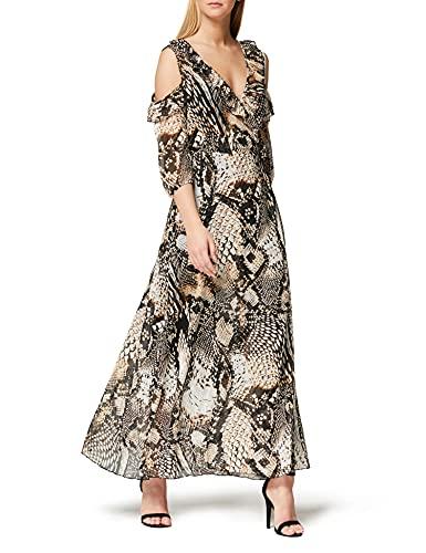 Marchio Amazon - TRUTH & FABLE Maxi Dress a Fiori Donna, Marrone (Brown Brown), 42, Label: S
