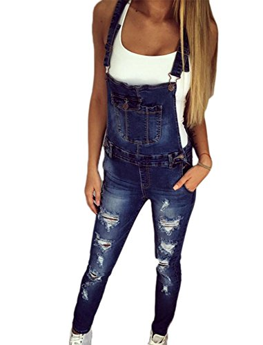 Hellomiko Frauen zerrissen Slim Fit Stretch Denim Latzhose Shorts Overall Casual Overall Playsuit