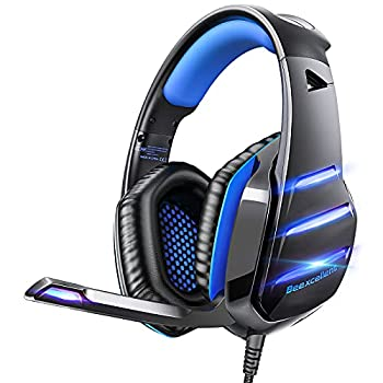 Gaming headset for PS4 Xbox one PS5 controller Beexcellent Newest Deep Bass Stereo Sound Over Ear Headphone with Noise Isolation LED Light for PC Laptop Tablet Mac  Blue