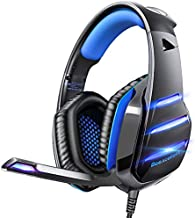 Gaming headset for PS4 Xbox one PS5 controller, Beexcellent Newest Deep Bass Stereo Sound Over Ear Headphone with Noise Isolation LED Light for PC Laptop Tablet Mac (Blue)