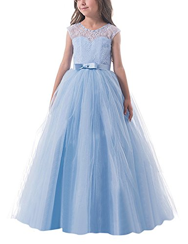 NNJXD Mädchen Kinder Spitze Tüll Hochzeit Kleid Prinzessin Kleider Größe (160) 10-11 Jahre Blau