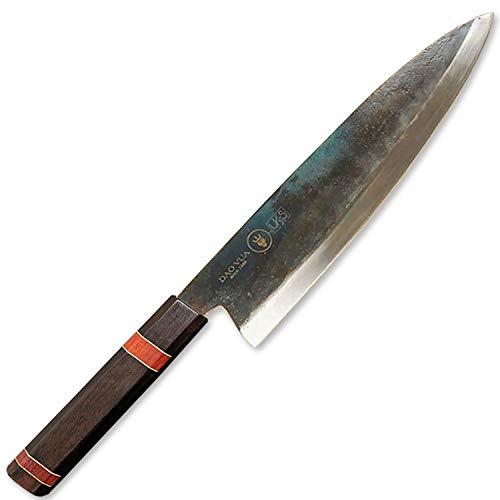 UK-S Art Authentisches Küchenmesser (Gyuto Stilklasse), Handgeschmiedet (HRC 61), super scharf und mit Griff aus hartem Ebenholz,