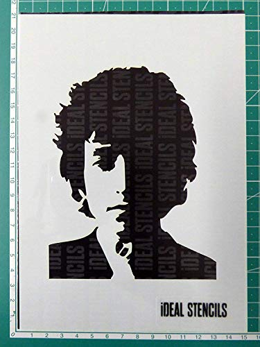 Bob Dylan Bild Schablone - Malen Schablone für Kunst Handwerk und Dekorieren - Wiederverwendbare Schablone Hergestellt aus Waschbar Plastik - Farbe Design auf Wände, Stoff, Möbel