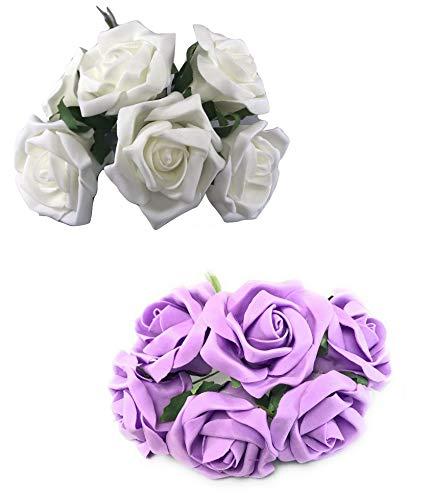 INERRA Künstliche Rosen, 2 Farben, 6 Blüten pro Strauß – farbecht, Nicht laufend, elfenbeinfarben und fliederfarben
