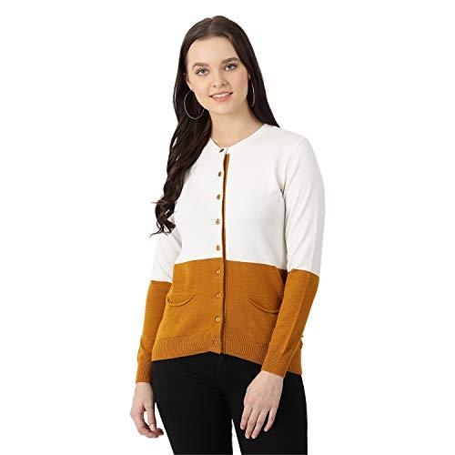 Monte Carlo Women's Casual Cotton Cardigan Sweater (1195878RN-3_White & Mustard_M)