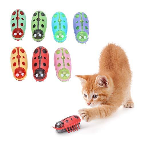 stronerliou 7Pcs Pet Mini Cute Ladybug Shape Juguete eléctrico Divertido Jugando Interactivo...