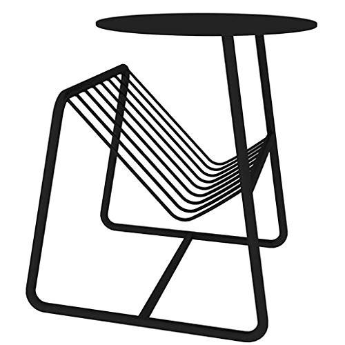 N/Z Inicio Equipamiento Mesas de Centro Mesa Auxiliar de Metal con revistero Mesa de Centro Redonda para Mesa de Lectura Balcón Salón Mobiliario de hogar y Oficina Dorado