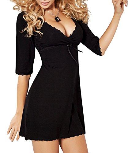 r-dessous DKaren Damen Nachtwäsche Viskose edles Nachthemd Nachtkleid Sleepshirt Langarm große Größen Groesse: XL