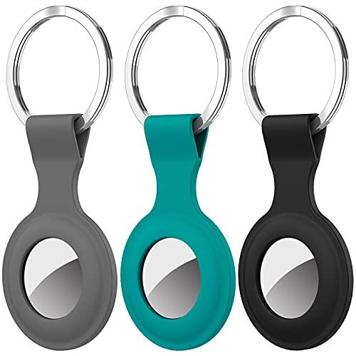 Diruite 3 Stück Keyring für Apple AirTag Schutzhülle Pendant,Kratzfest Waschbar Schweißfest Soft Hkieselgel Hüll Locator Tracker Keychain für Apple AirTag Hülle Key Ring