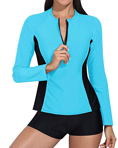 Daci Women Blue Black Rash Guard Long Sleeve Zipper Boy Shorts Swimsuit UPF 50Bathing Suit L