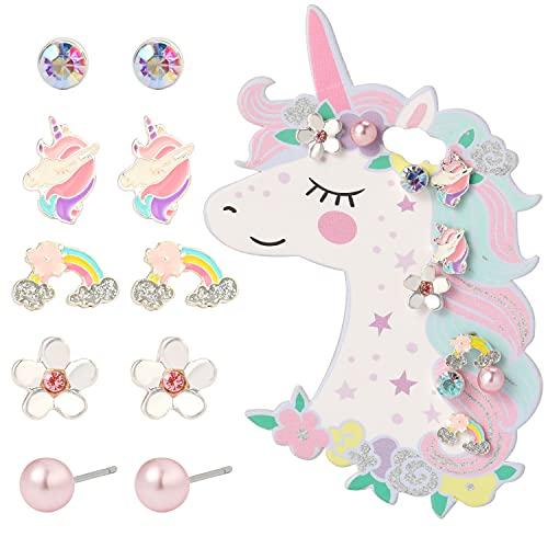 Orecchini per Bambini, Clip Orecchini Unicorno per Bambini, 5 Paia, Set di Gioielli per Ragazze da Vestire, Miglior Regalo per Bambini