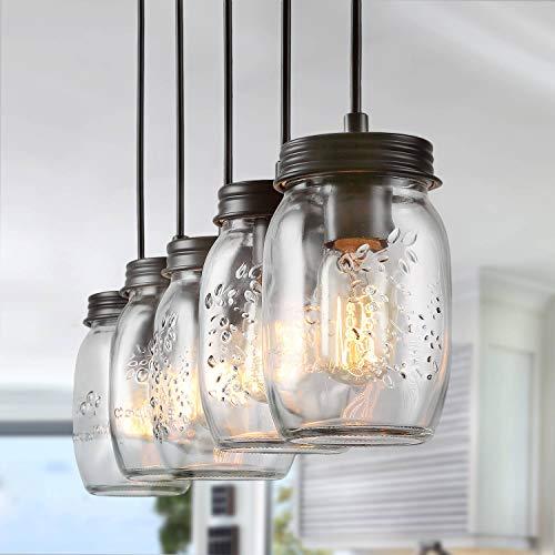 LNC Pendant Lighting for Kitchen Island,Wooden Farmhouse Chandelier, Glass Mason Jar Hanging Lamp A02983, Brown