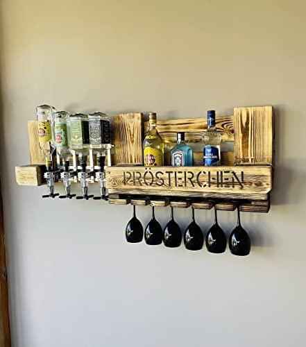 Wandbar Personalisierbar mit Getränkespender Rustikal Wunschtext Name Whyski Wein Regal Schnaps Palette
