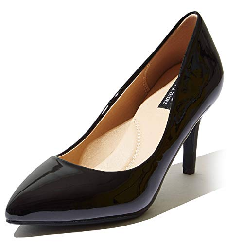 DailyShoes Women Heels High Heels Pump Pointed Toe Arch Support Insoles Heel Shoes Pumps Relieve Foot Stiletto Crystal-02 Black Pt 9