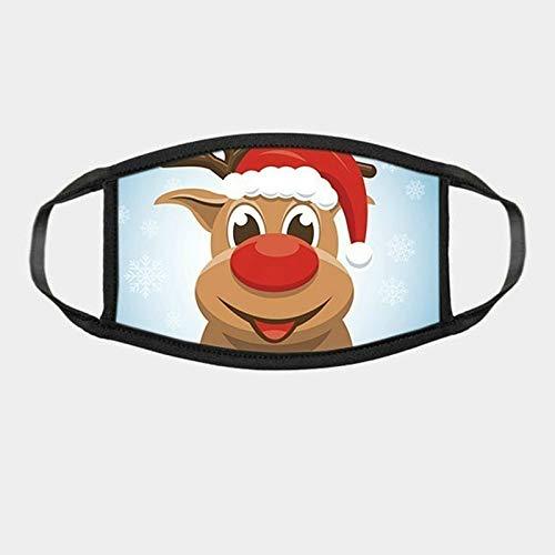 N / A Weihnachtsgesichtsschutz für Erwachsene kann wiederverwendet Werden, farbige Stoffohrringe für staubdichtes Gesicht, atmungsaktive und staubdichte Mode für Damen und Herren