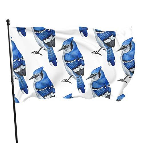 FLECION Blue Jay Blue Bird 3x5 Feet Outdoor American Flag Polyester Cloth Uv Resistance Fading & Durable Flag