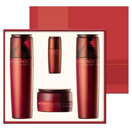 CHARMZONE DeAge Red Addition Set of 3- Moisturizing Toner, Emulsion and Nutrient Cream + Essence for Hydrating Nourishing and Pore Cleansing