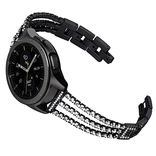 HGNZMD Correa De Diamantes De Imitación Compatible con Galaxy Watch De 42 Mm, Banda De Repuesto Joyas De Metal Strap De Acero Inoxidable Band Compatible con Galaxy Watch De 42 Mm,Black 46mm