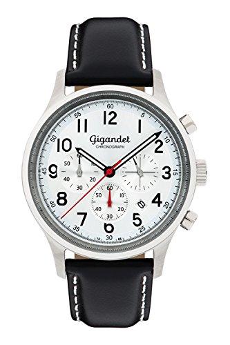 Gigandet Herrenuhr Chronograph Quarz Analog Leder schwarz G50-002
