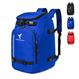 XIANFENGNIAO Ski Boot Bag, Lightweight Ski Boot Travel Backpack for Ski & Snowboard Boots, Helmets, Goggles,Gloves & Outerwear (Blue)