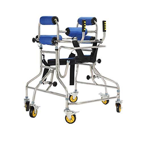 ZXQ Stehen Rollator Gehhilfe Mit Doppelter Achsel Unterstützung Und Bremsfunktion U-förmige Infusionsständer Intubation Mobility Walker Höhe/Breite Einstellbare for Eltern