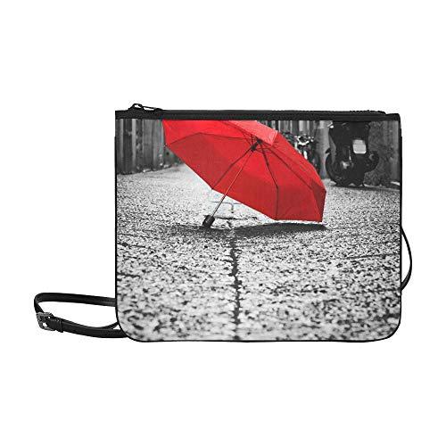 Bolso bandolera para adolescentes Paraguas rojo en la calle
