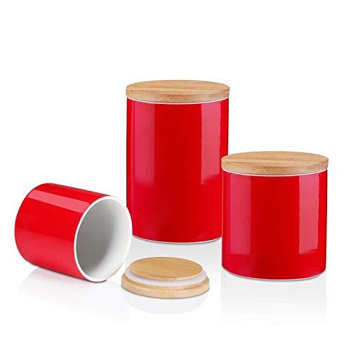 LOVECASA Vorratsdosen Set, Vorratsbehälter Porzellan mit Luftdichtem Verschluss Bambusdeckel, 3er Set, Rot